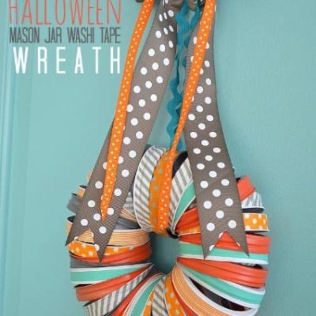 Mason Jar Ring & Washi Tape Wreath {make halloween decorations}