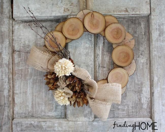 Wood and Burlap Natural Fall Wreath