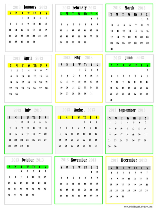 free printable 2013 calendar – monthly mini cards