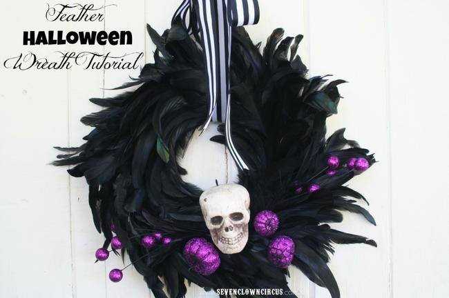 Feather Halloween Wreath