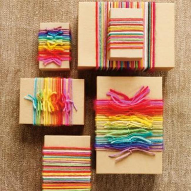 Rainbow Yarn Gift Wrapping