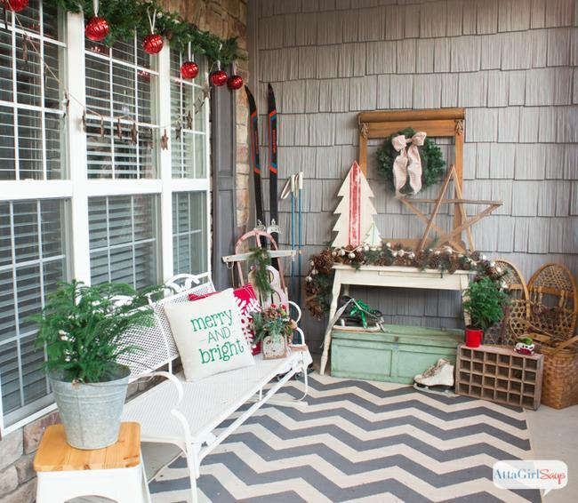Vintage Inspired Christmas Porch
