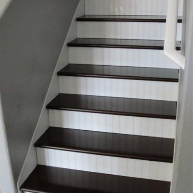 Wood and Bead Board Stair Makeover {Stairways}