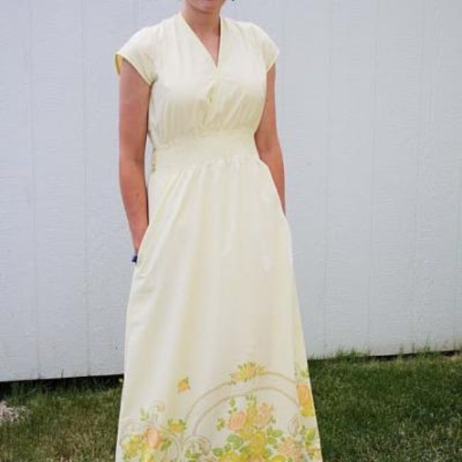 Floor Length Dress from a Bed Sheet {How-To}