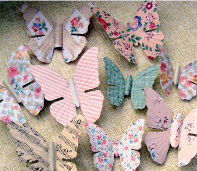 Upcycled Wallpaper Butterfly Magnets