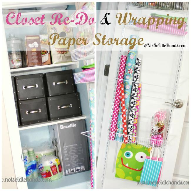 Hall Closet Re-Do and Wrapping Paper Storage