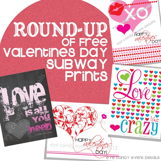 FREE Valentines Subway Art Prints ROUND-UP