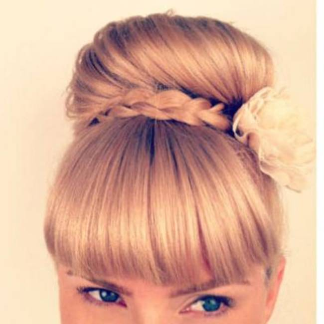 Braided Bun with Bangs {Hairstyles}