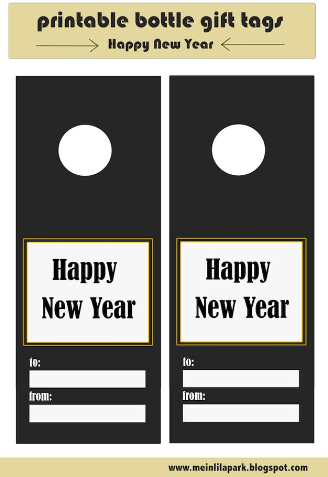 free printable Happy New Year bottle gift tags