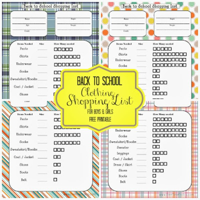 Back to School Clothing Shopping List {Free Printable}