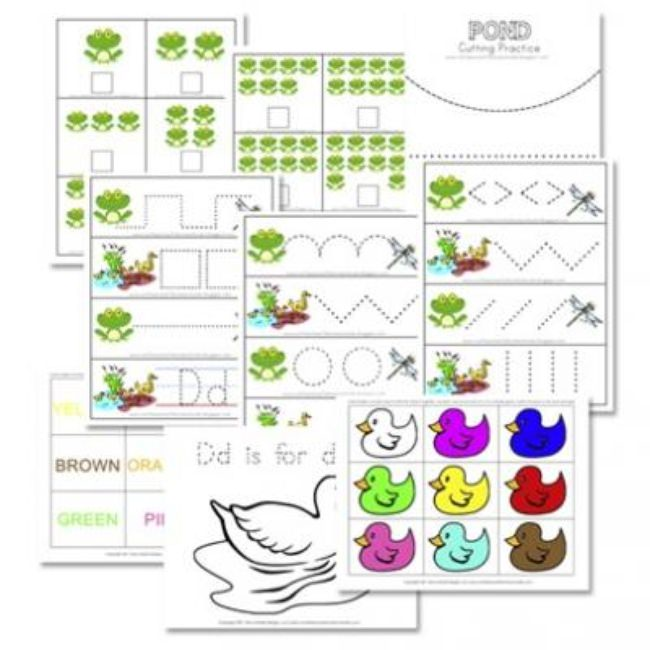 Pond Themed Preschool Activity Pack (Printable Worksheets for Kids}