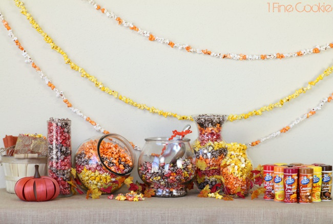 Fall and Thanksgiving Party Table Décor with Colorful Popcorn.