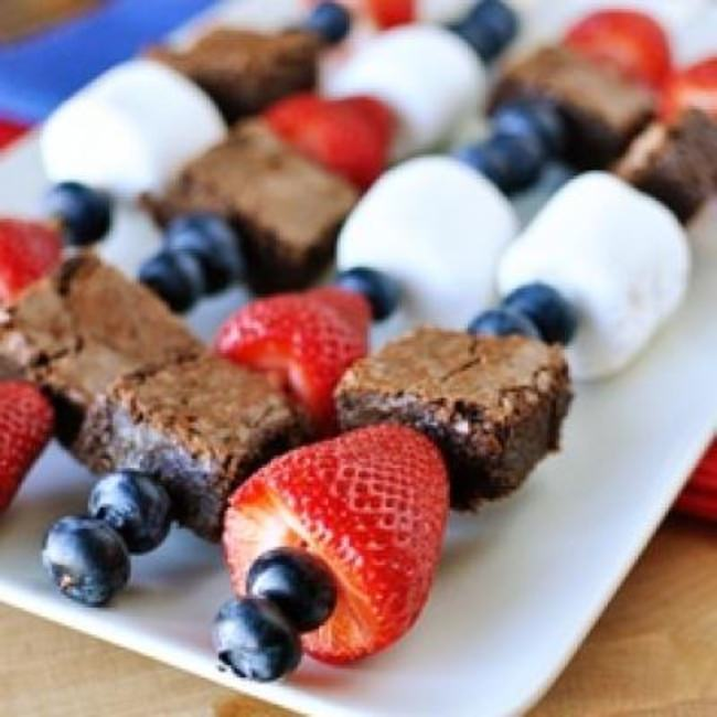 Fruit and Brownie Kebabs {4th of July Food}