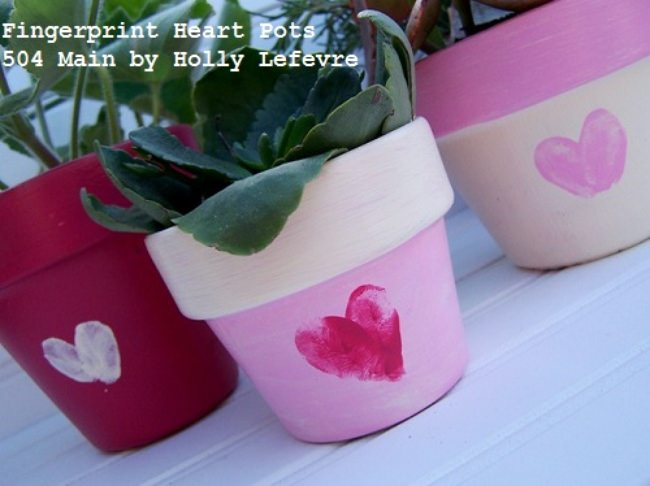 Make a Fingerprint Heart Pot for Valentine's Day
