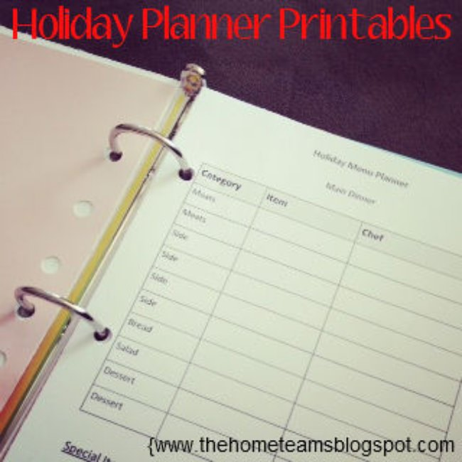 Holiday Planner Printables