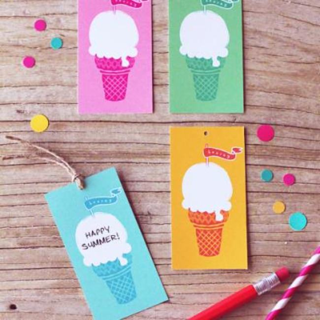 Free Ice-Cream Gift Tags {Card Ideas}