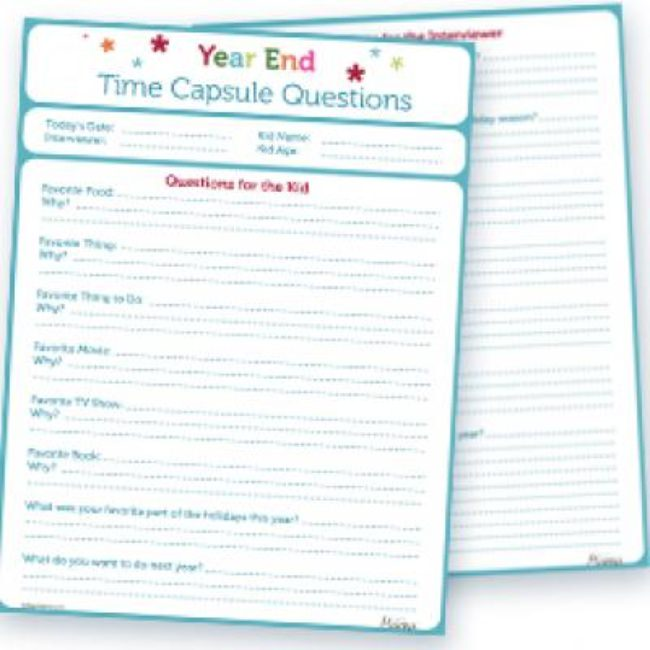 New Year's Eve Time Capsule Worksheet {Kids Activity}