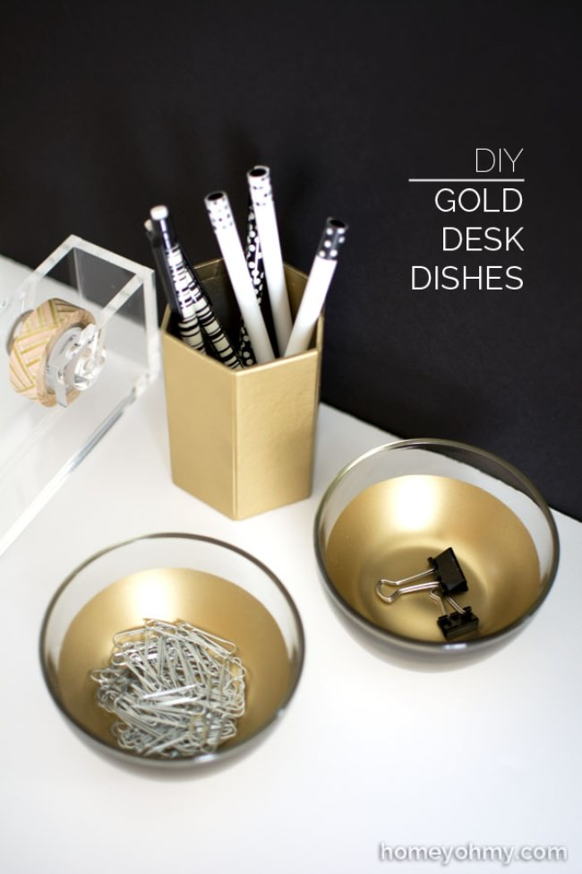 Gold Desk Dishes {how to}