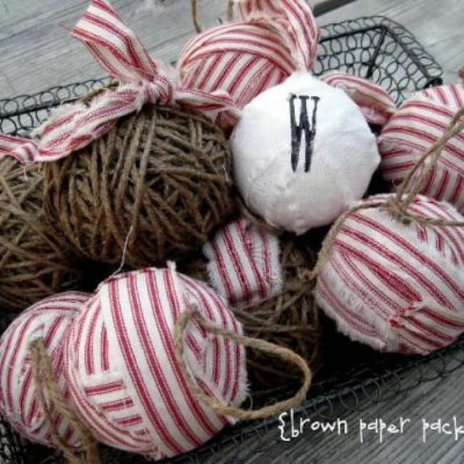 Twine and Rag Ornaments {Christmas Ornament DIY}