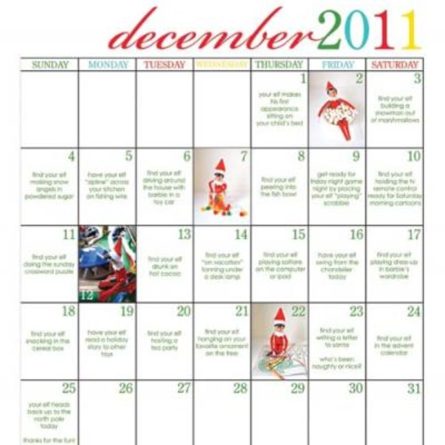 Elf on The Shelf Calendar of Ideas {For Christmas}