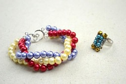 Handmade beaded jewelry designs-simple pearl bracelet and ring set