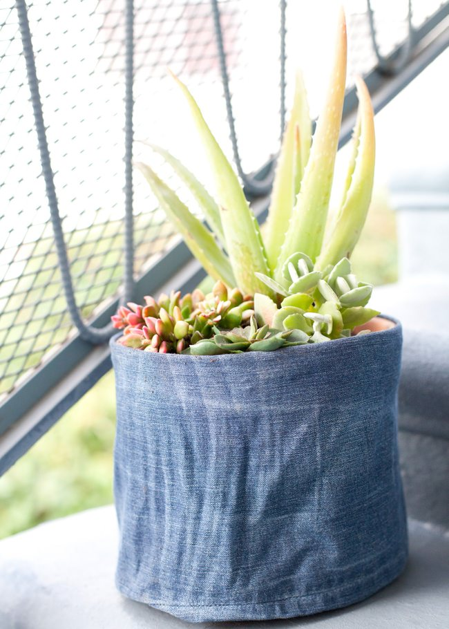 DIY Denim Flower Pot Cover