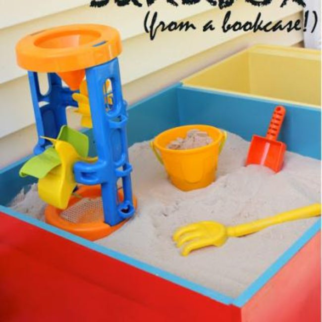 Bookcase Turned Modern Sandbox Tutorial {Outdoor Play}