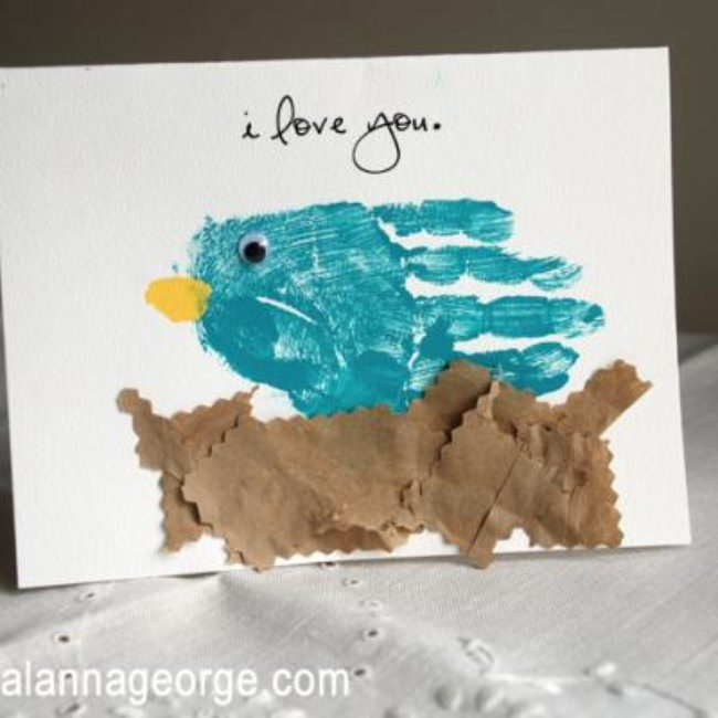 Mother's Day Handprint Bird Card {Handprint Crafts for Kids}