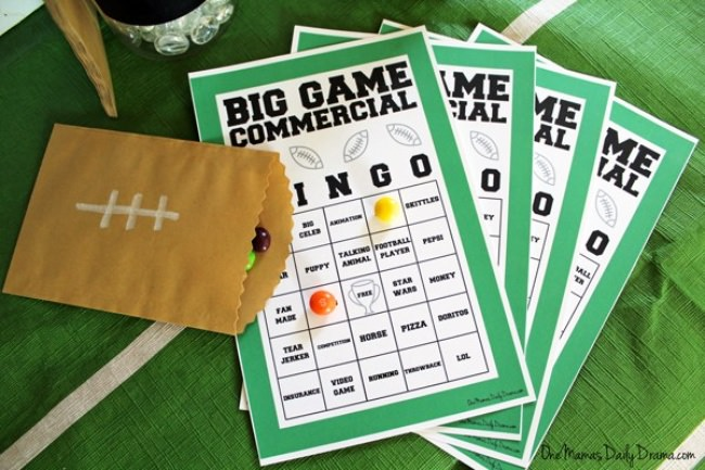 Big Game Commercial Bingo