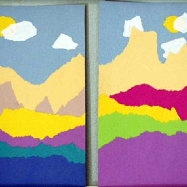 Torn Paper Landscape {Art Ideas}
