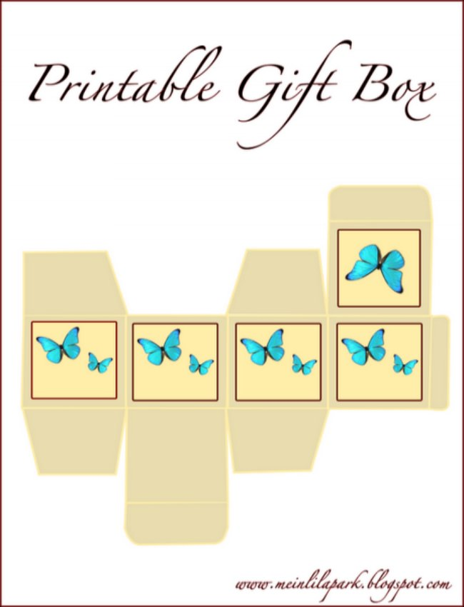 lovely free printable gift box with little blue butterflies