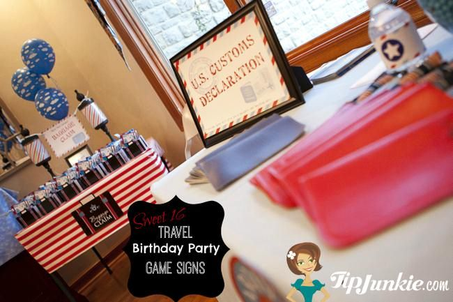 Travel Party Games for Sweet 16  {printable file}