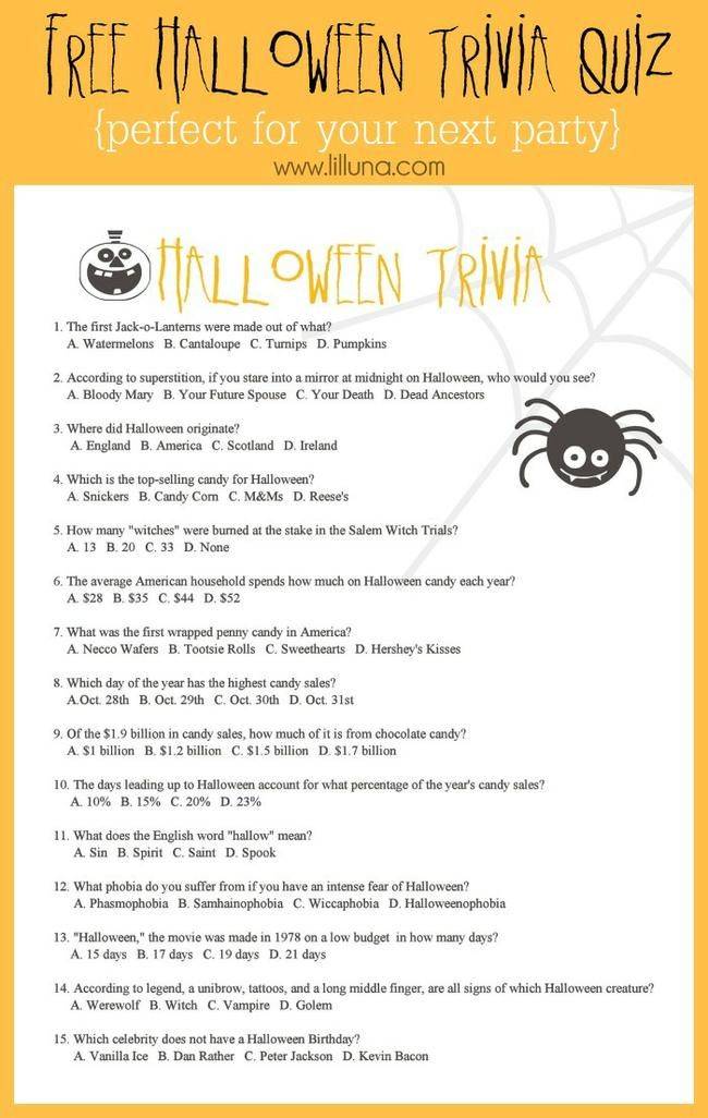 picture regarding Autumn Trivia for Seniors Printable known as 6 Halloween Trivia Worksheets and Video games Suggestion Junkie