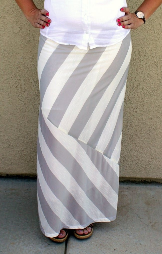 DIY Striped Maxi Skirt