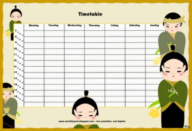 free printable school timetable / schedule