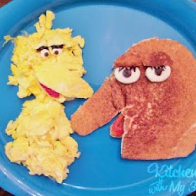 Big Bird and Snuffleupagus Breakfast