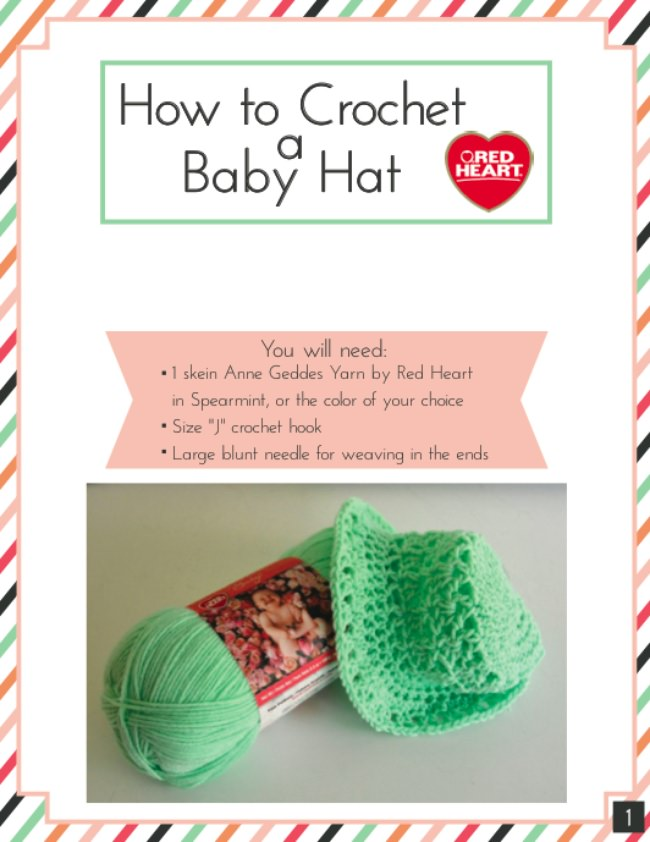 How to Crochet a Baby Hat with FREE Printable Pattern!