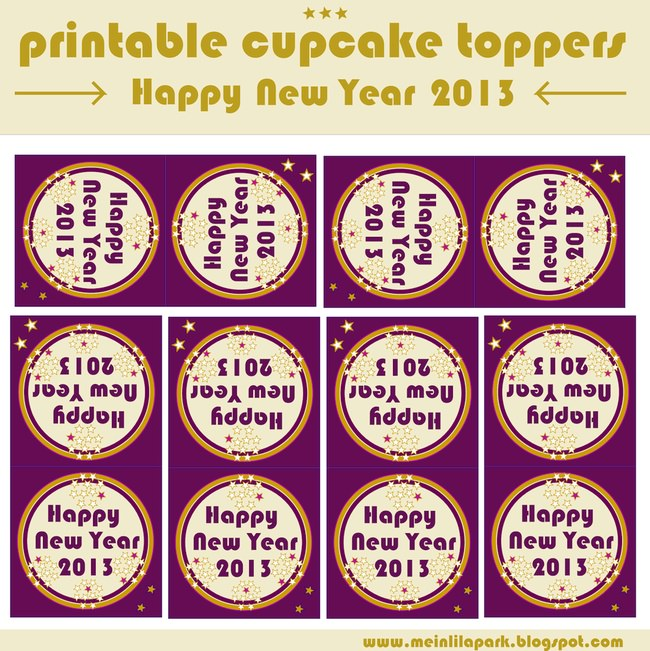 New Year's Eve cupcake toppers – free printable
