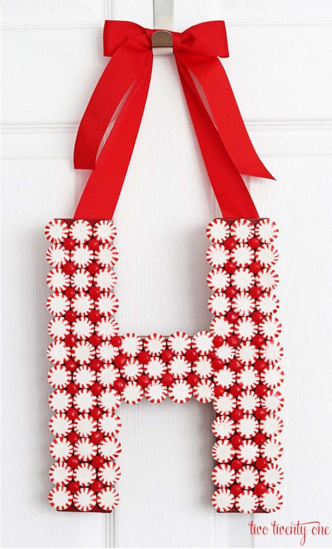 Peppermint Monogram Wreath