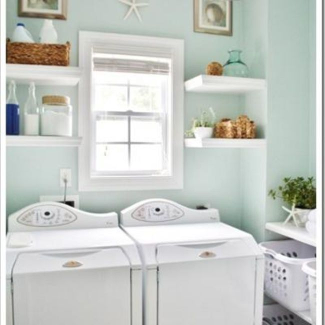 Laundry Room Shelving and Decor {Storage and Shelving}