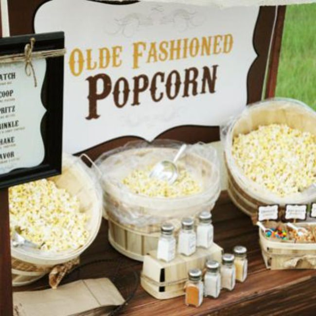 Rustic Popcorn Bar {party food ideas}