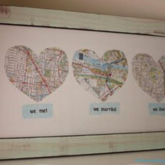Personalized Map Wall Hanging for Wedding