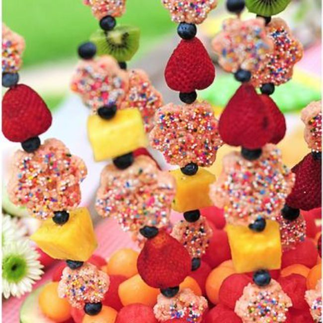Rice Krispie Fruit Kebobs