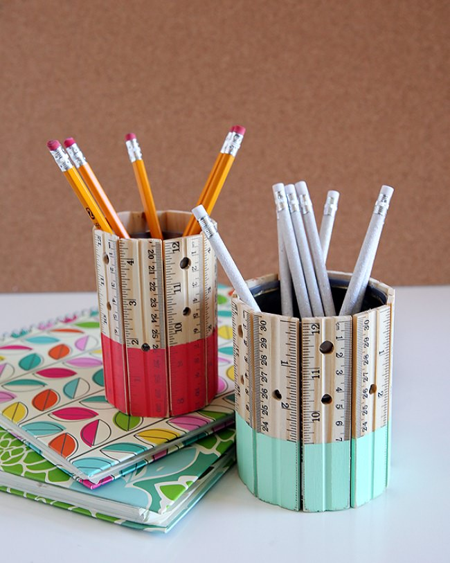 DIY Ruler Pencil Holder