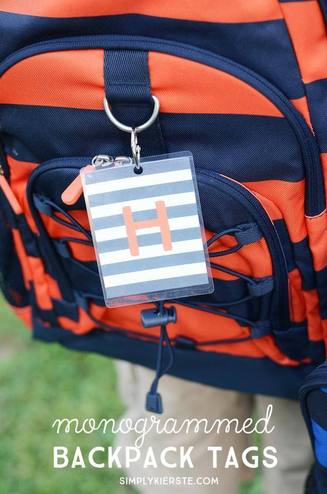 Monogrammed Backpack Tags