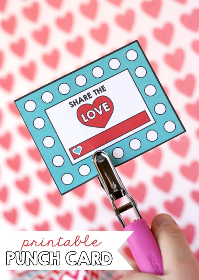 Printable Valentine Punch Card