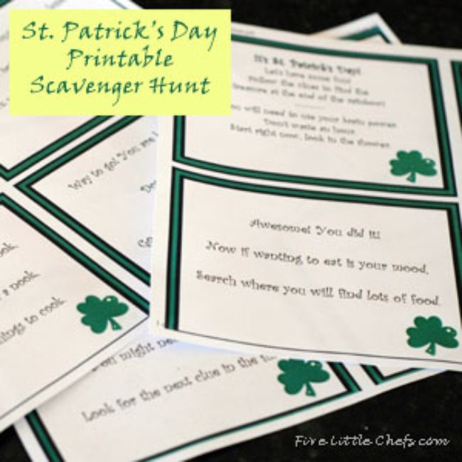 St Patrick's Day Scavenger Hunt Printable