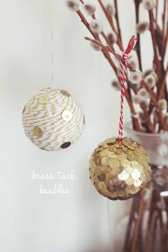 DIY Brass Tack Baubles