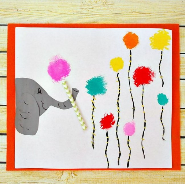 Horton the Elephant Cotton Ball Painting