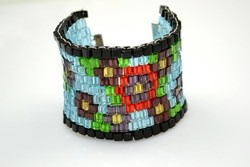 How to Make a Beaded Cuff Bracelet- Beaded Cuff Bracelet Fully Decorated wi